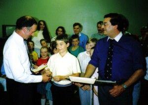 Rob receives an award as a junior chorister in Prescot Parish Church Choir